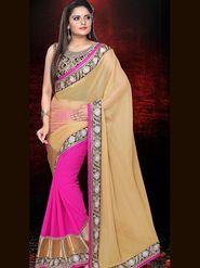 Shop Rajasthan Faux Georgette Embroidered Saree - Gold & Fuchsia_SRQ2482