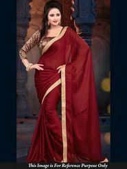 Shop Rajasthan Chiffon Embroidered Saree - Maroon_SRQ2496