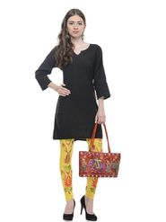 Lavennder Knitted Solid Legging - Yellow With Red Bag_LZB-52344