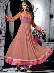 Viva N Diva Semi Georgette Embroidered Salwar Suit - Dusty Pink_Cosmos-13001