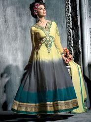 Viva N Diva Semi Georgette Embroidered Salwar Suit - Beige, Grey & Blue_Cosmos-13010