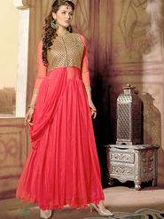 Viva N Diva Net  Embroidered Salwar Suit - Peach_Vedant-1001