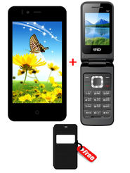 Combo of Trio KitKat 3G SmartPhone + Trio Flip Phone + Free Flip Cover for SmartPhone
