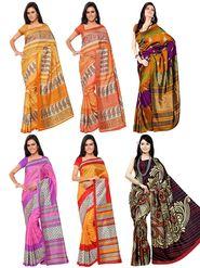 Pack Of 6 Florence Printed Malbari Silk Saree-fl01