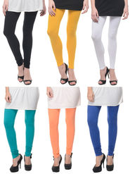 Combo of 6 Lavennder Solid Cotton Lycra Leggings