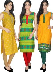 Pack of  3 Arisha Cotton Printed Kurti -Cm3