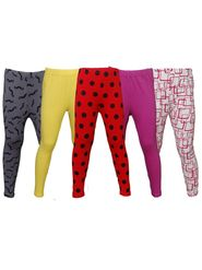 Pack of 5 Little Star Girl's Multicolor Leggings - PO5L_128