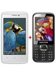 Combo of Adcom A 40 3G SmartPhone (White) + Adcom Cinema X28 Feature Phone (Black)