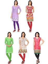 Combo Of 5 Thankar Printed PolyCotton Kurtis - THN-01