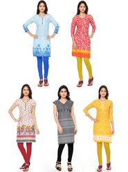 Combo Of 5 Thankar Printed PolyCotton Kurtis - THN-05