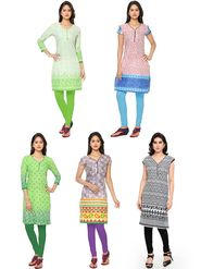 Combo Of  5 Thankar Printed PolyCotton Kurtis- THN-06