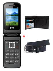 Combo of Trio T8 Dual SIM Flip Feature Phone + Belt + Wallet