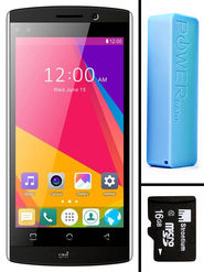 Combo of UNI N801 5 Inch 3G Calling Kitkat Smartphone - Black + 2600 mAh Powerbank + 16GB Memory Card
