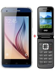 Combo of TYMES Y4DT Smartphone (Blue) + T8 Flip Phone (Black)