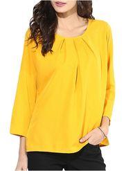 Lavennder Plain Crepe Yellow Top -Lw5480