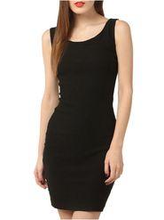 Lavennder Plain Knitted Black Dresses -Ld9018