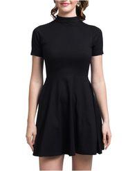Lavennder Plain Knitted Black Dresses -Ld9025