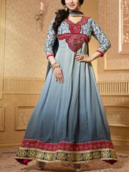 Viva N Diva Embroidery Georgette Anarkali Suit - Gray