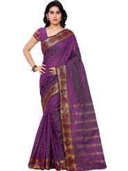 Viva N Diva Plain Banarasi Silk Purple Saree -vs12