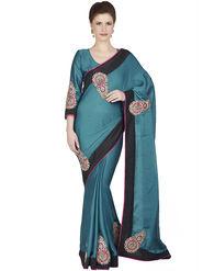 Designersareez Satin Chiffon Embroidered Saree -1849