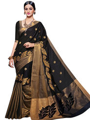 Viva N Diva Embellished Kota Silk Black & Gold Saree -19167-Aangi