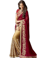 Viva N Diva Embroidered Georgette Maroon & Beige Saree -19185-Aangi