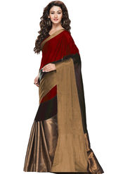 Viva N Diva Embellished Cotton Maroon, Black & Brown Saree -19186-Aangi