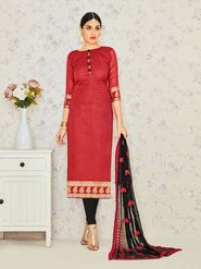 Viva N Diva Embroidered Banarasi Jacquard Red Unstitched Dress Material -19189-Jivika