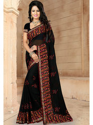 Viva N Diva Embroidered Georgette Black Saree -19264-Drishya