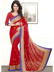 Viva N Diva Embroidered Chiffon Red Saree -19443-Akshita