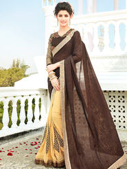 Viva N Diva Embroidered Georgette Brown & Beige Saree -rv03