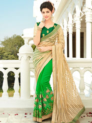 Viva N Diva Embroidered Georgette Beige & Green Saree -rv08