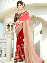 Viva N Diva Embroidered Georgette Peach, Beige & Red Saree -rv10