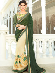 Viva N Diva Embroidered Georgette Green & Beige Saree -rv11
