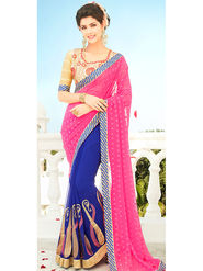 Viva N Diva Embroidered Georgette Pink & Blue Saree -rv12