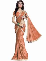 Bhuwal Fashion Plain Lycra Orange Designer Saree -bhl01