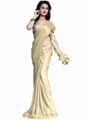Bhuwal Fashion Plain Lycra Beige Designer Saree -bhl02