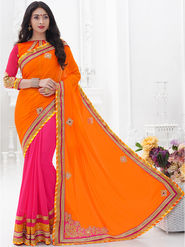 Indian Women Embroidered Crepe Orange & Pink Designer Saree -GA20309