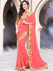 Indian Women Embroidered Georgette Pink Designer Saree -GA20343