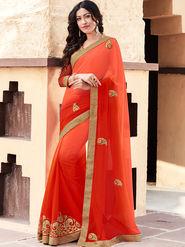 Indian Women Embroidered Georgette Orange and Red Designer Saree -GA20363