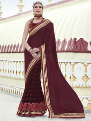 Indian Women Embroidered Chiffon Maroon Designer Saree -RA21062