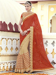 Indian Women Printed Chiffon Red and Beige Designer Saree -RA21071