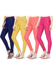 Combo of 4 Arisha Solid Cotton Lycra Jegging -sa04