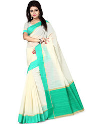 Zoom Fabrics Plain Cotton Silk Beige & Green Saree -4051C