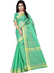 Zoom Fabrics Plain Cotton Silk Green Saree -4052A