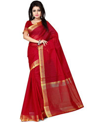 Zoom Fabrics Plain Cotton Silk Red Saree -4052B