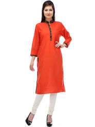 Lavennder Plain Cotton Orange Kurti _623683
