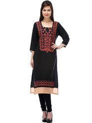 Lavennder Printed Cotton Black Kurti _623696