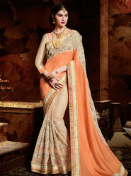 Indian Women Plain Georgette Orange  & White Designer Saree-Ht71104