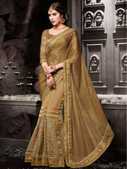 Indian Women Embroidered Chiffon Brown & Beige Designer Saree-Ht71109